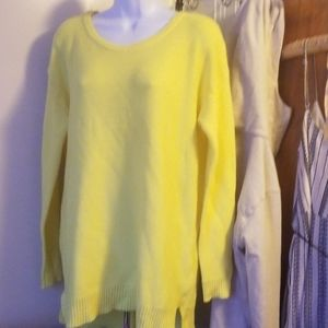 Cotton on knit neon yellow sweater boat neck